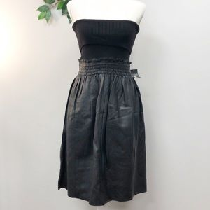 BNWT. DKNY black leather (African lamb) dress S